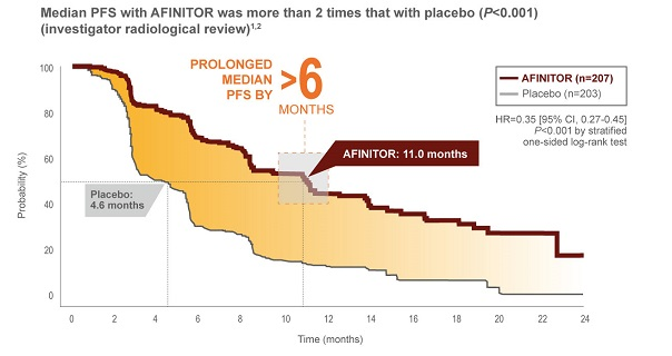 Kaplan-Meier curve for progression-free survival in the RADIANT-3 study of AFINITOR